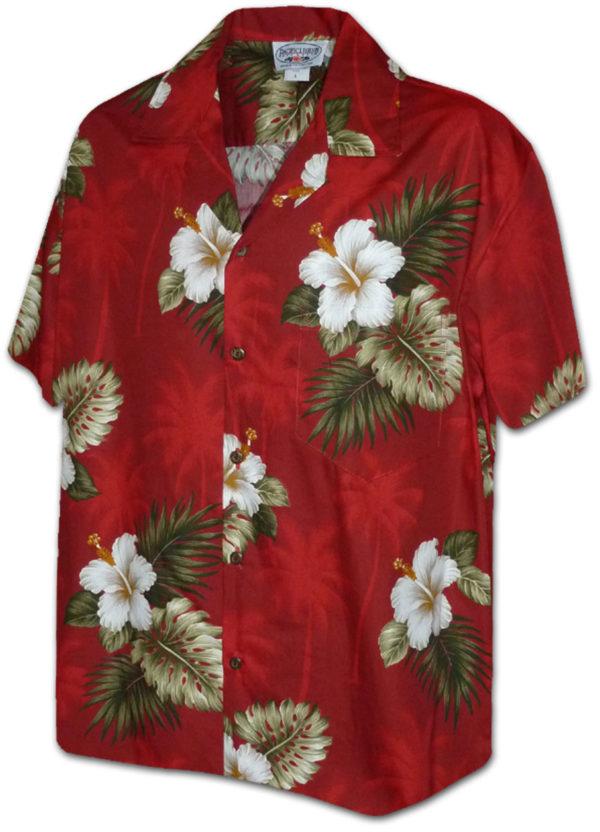 Červená havajská košile s motivem ibišku 2XL - Gril-Zahrada.cz