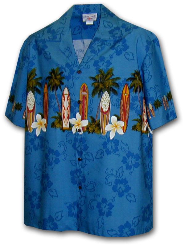 Modrá havajská košile s motivem palem a surfování L - Gril-Zahrada.cz